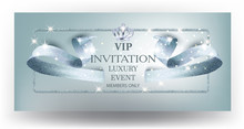Vip Blue Beautiful Invitation Card  Curly Textured Ribbon And Crown  Illustration Sticker