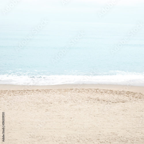 Retro Pastel Beach and sea.  Tranquility of turquoise water.  - 196309130