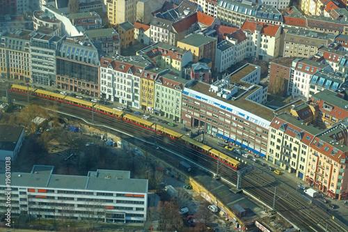 Fotobehang Berlijn train in Berlin, aerial view