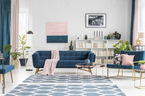 Pink and blue luxurious interior