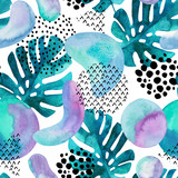 Abstract seamless pattern with watercolor tropical leaves, geometric shapes - minimal grunge textured circle, arc, triangle. - 196314598
