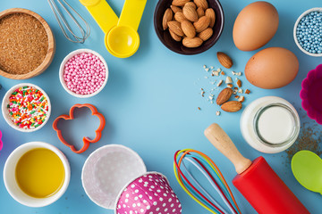 Baking background with ingredients and kitchen tools