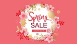 Spring Sale Vector Illustration. Banner With Cherry Blossoms. - 196315944