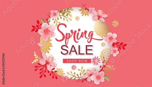 Fototapeta Spring Sale Vector Illustration. Banner With Cherry Blossoms.