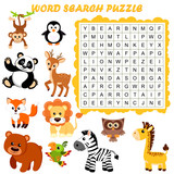 Word search puzzle. Vector education game for children. Animals - 196317791