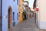 colorful old houses street Rimini Italy