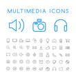 Set of 50 Minimal Thin Line Multimedia Icons on White Background . Isolated Vector Elements - 196326375