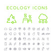 Set of 50 Minimal Thin Line Ecology Icons on White Background . Isolated Vector Elements - 196326387