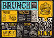 Brunch restaurant menu. Vector food flyer for bar and cafe. Design template with vintage hand-drawn illustrations. - 196327588