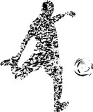 Soccer player, abstract grunge vector art, isolated on white