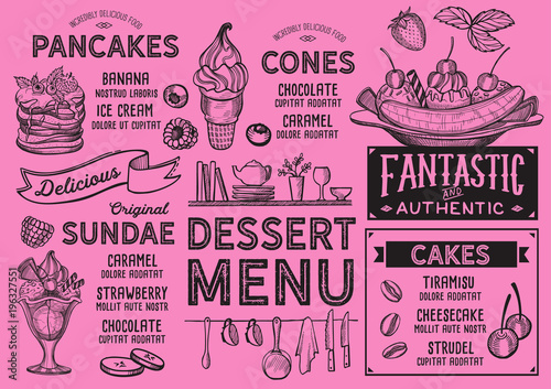 Wall mural Dessert restaurant menu. Vector food flyer for bar and cafe. Design template with vintage hand-drawn illustrations.
