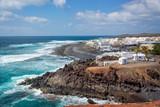 Beach and village of El Golfo in Lanzarote, Canary Islands, Spain - 196328797