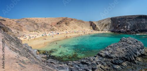 Poster Canarische Eilanden Panorama of Papagayo beach near Playa Blanca, in Lanzarote, Canary Islands, Spain