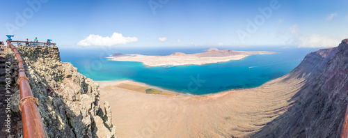 Foto op Canvas Panoramafoto s Panorama of La Graciosa island, aerial view from Mirador del Rio in Lanzarote, Canary islands, Spain