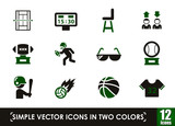 sport simple vector icons in two colors