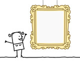 Cartoon Woman Watching a Blank Frame - 196335365