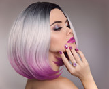Ombre bob hair woman. Glitter Makeup. Manicure nails. Beauty Portrait of blond model with short shiny hairstyle. Concept Coloring Hair. Fashion jewelry - 196339981