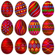 A set of red Easter eggs with colorful patterns