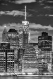 Black and white picture of Manhattan skyscrapers at night, New York City, USA. © MaciejBledowski