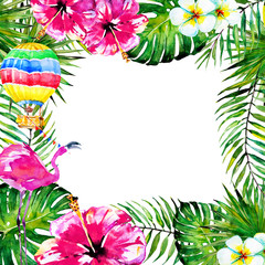 beautiful tropical palm laves, watercolor