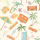 Seamless summer beach pattern.