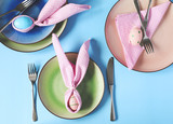 Spring Easter Table setting. Top view - 196349399