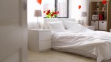 cozy bedroom decorated for valentines day - 196352742