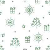 vector seamless pattern of green Christmas trees and stars and gifts