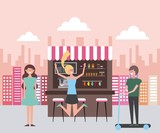 coffee shop in the street people happy vector illustration