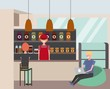 coffee shop interior with barista customer sitting in padded stools vector illustration