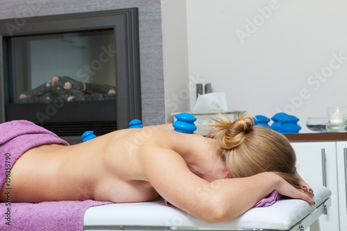Fotobehang Spa Massage with cupping glass in beautician