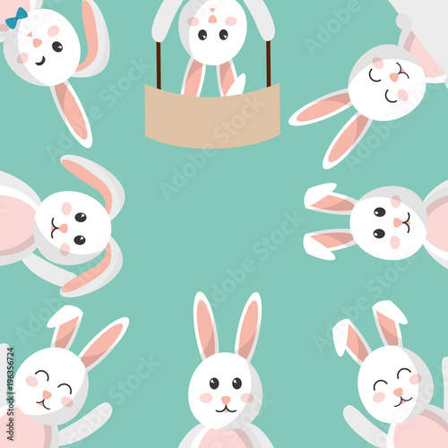 easter bunny cartoon character background vector illustration - 196356724