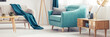 Quadro Turquoise armchair in living room