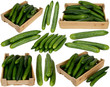 Cucumber in wooden boxes on white background