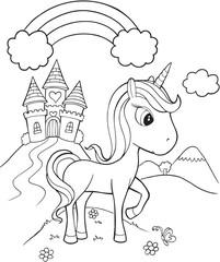 Unicorn Castle Vector Illustration Art © Erik DePrince