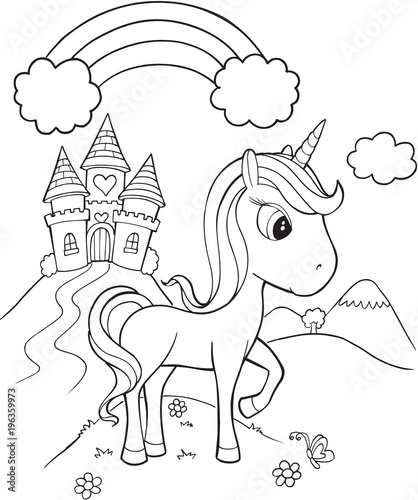 Foto op Canvas Cartoon draw Unicorn Castle Vector Illustration Art