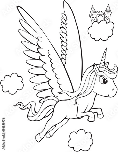 Foto op Canvas Cartoon draw Pegasus Unicorn Vector Illutration Art
