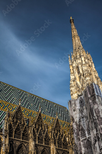 Foto op Canvas Wenen The spire of the southern tower and the roof of St. Stephen's Cathedral in Vienna, Austria.
