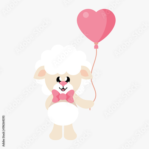 cartoon cute sheep with tie and lovely balloons