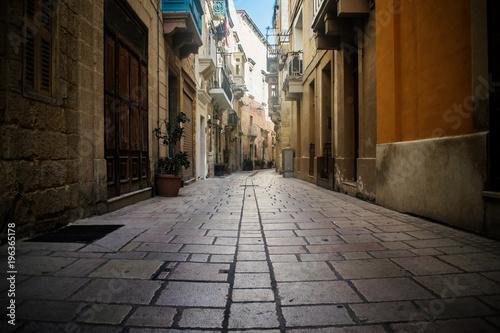 Aluminium Smalle straatjes Historical Narrow Street in Malta