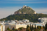 Aerial city view with Mount Lycabettus in Athens, Greece - 196365504