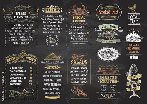 Fototapeta Fish menu chalkboard desigs set