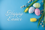 Holiday greeting card with text happy Easter