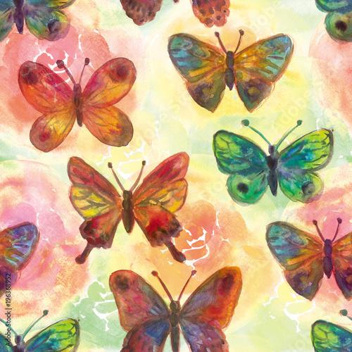 Akwarele malowane kwiaty i motyle Jasny bez szwu patte