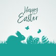 Greetings Happy Easter with easter eggs, bunny and butterflys on a turquoise background