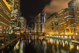 Chicago downtown night skyline buildings - 196372109