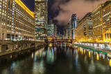 Chicago downtown night skyline buildings - 196372113