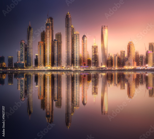 Foto op Aluminium Dubai Dubai Marina bay view from Palm Jumeirah, UAE