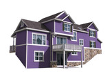 3D Illustration of a house with ultra violet siding - 196377589