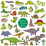reptiles and amphibians characters set - 196378521